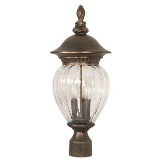 (3 Light) Post Lantern - Platinum Gold / Clear Melon Seed Glass - Nuvo Lighting 60-791 - Residential Light Fixture