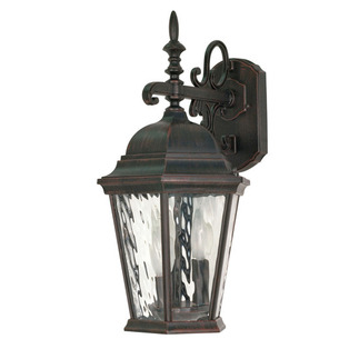 (3 Light) (Arm Down) Wall Lantern - Old Penny Bronze / Clear Water Glass - Nuvo Lighting 60-792