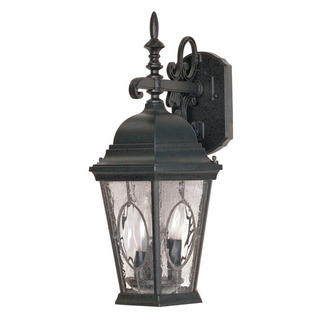 (3 Light) (Arm Down) Wall Lantern - Textured Black / Clear Water & Seed Glass Panels - Nuvo Lighting 60-793