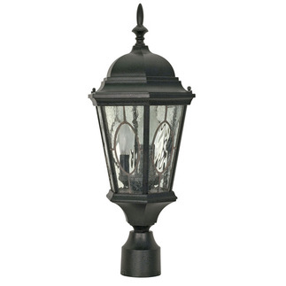 (3 Light) Post Lantern - Textured Black / Clear Water & Seed Glass Panels - Nuvo Lighting 60-799