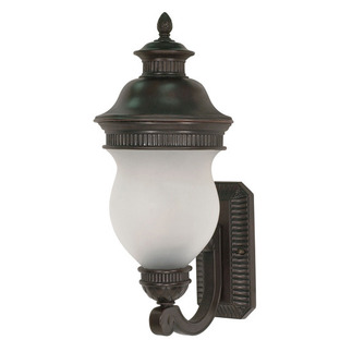 (2 Light) (Arm Up) Wall Lantern - Chestnut Bronze / Satin Frost Glass - Nuvo Lighting 60-875