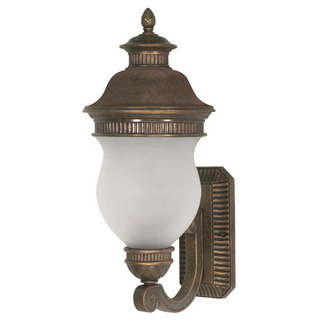 (2 Light) (Arm Up) Wall Lantern - Platinum Gold / Satin Frost Glass - Nuvo Lighting 60-876 - Residential Light Fixture