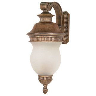 (3 Light) (Arm Down) Wall Lantern - Platinum Gold / Satin Frost Glass - Nuvo Lighting 60-880 - Residential Light Fixture