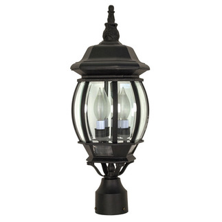 (3 Light) Post Lantern - Textured Black / Clear Beveled Glass - Nuvo Lighting 60-899
