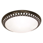 (3 CFL) - Flush Mount Ceiling Fixture - Old Bronze / White Glass - Energy Star Qualified - Nuvo Lighting 60-925