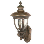 (3 Light) (Arm Up) Wall Lantern - Platinum Gold / Clear Seed Glass - Nuvo Lighting 60-955