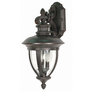 (3 Light) (Arm Down) Wall Lantern - Old Penny Bronze / Clear Seed Glass - Nuvo Lighting 60-956