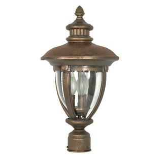 (3 Light) Post Lantern - Platinum Gold / Clear Seed Glass - Nuvo Lighting 60-961
