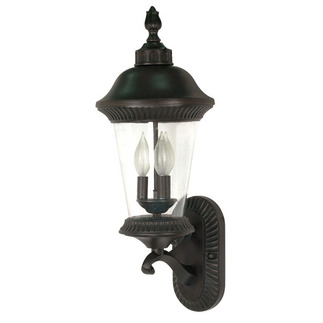 (3 Light) (Arm Up) Wall Lantern - Chestnut Bronze / Clear Seed Glass - Nuvo Lighting 60-964