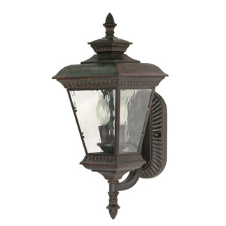 (2 Light) (Arm Up) Wall Lantern - Old Penny Bronze / Clear Water Glass - Nuvo Lighting 60-972