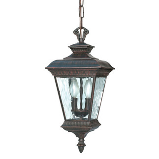 (2 Light) Hanging Lantern - Old Penny Bronze / Clear Water Glass - Nuvo Lighting 60-973