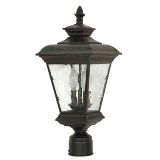 (2 Light) Post Lantern - Old Penny Bronze / Clear Water Glass - Nuvo Lighting 60-974 - Residential Light Fixture