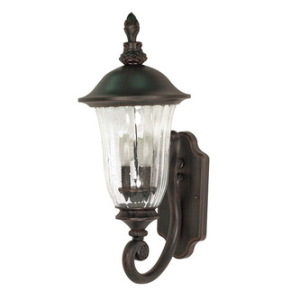 (3 Light) (Arm Up) Wall Lantern - Old Penny Bronze / Fluted Seed Glass - Nuvo Lighting 60-977