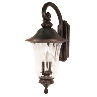 (3 Light) (Arm Down) Wall Lantern - Old Penny Bronze / Fluted Seed Glass - Nuvo Lighting 60-979 - Residential Light Fixture