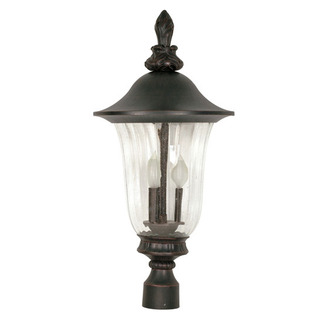 (3 Light) Post Lantern - Textured Black / Fluted Seed Glass - Nuvo Lighting 60-984