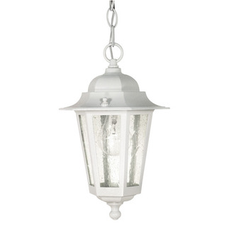 (1 Light) Hanging Lantern - White / Clear Seed Glass - Nuvo Lighting 60-991