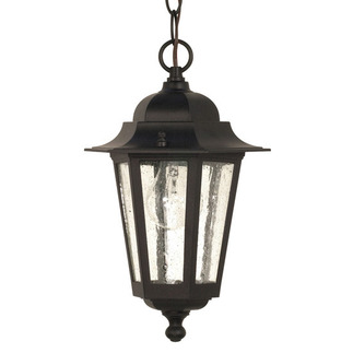 (1 Light) Hanging Lantern - Textured Black / Clear Seed Glass - Nuvo Lighting 60-993 - Residential Light Fixture