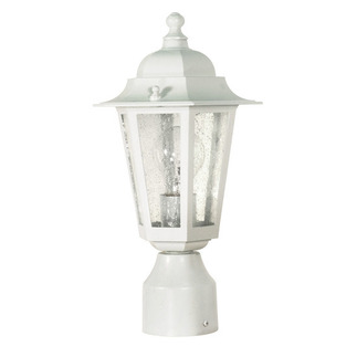 (1 Light) Post Lantern - White / Clear Seed Glass - Nuvo Lighting 60-994