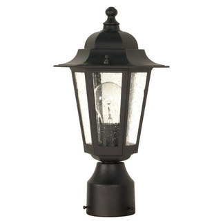 (1 Light) Post Lantern - Textured Black / Clear Seed Glass - Nuvo Lighting 60-996
