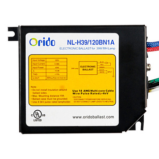 Orido NL-H39/120BN1A - 39 Watt - Metal Halide Ballast - Pulse Start - 120 Volt - ANSI M130 - Power Factor 98% - Max. Temp. Rating 90 Deg. C