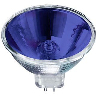 50 Watt - MR16 - Blue Glass Face - 12 Volt - FNF Narrow Spot - 4,000 Life Hours - Halogen Light Bulb - Eiko 15054