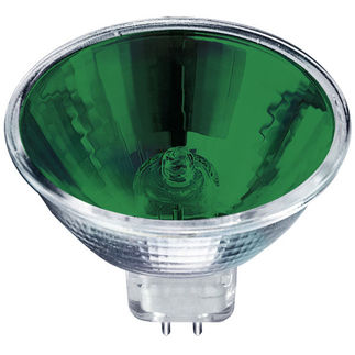 50 Watt - MR16 - Green Glass Face - 12 Volt - FNE Narrow Spot - 4,000 Life Hours - Halogen Light Bulb - Eiko 15052