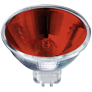50 Watt - MR16 - Red Glass Face - 12 Volt - FND Narrow Spot - 4,000 Life Hours - Halogen Light Bulb - Eiko 15050