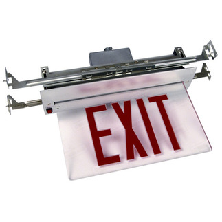 LED - Value Edge-Lit Exit Sign - 120/277 Volt and Emergency Operation - Exitronix V902-R-WB-RC-BA