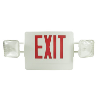 LED - Combination Exit Sign - AC and Emergency Operation - Self-Testing - Exitronix VEX-U-BP-WB-WH-EL90-G2