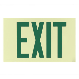 Photoluminescent Exit Sign - Self-Luminous - 25 Year Effective Life - Unframed Wall Mount - Exitronix PL-1-U-1-G