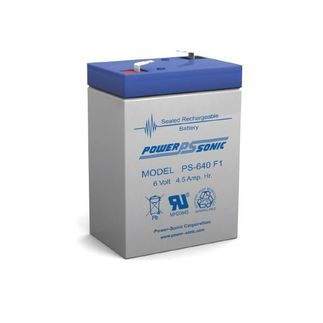 Power-Sonic PS-640 - AGM Battery - Sealed Lead Acid - 6 Volt - 4.5 Ah Capacity - F1 Terminal
