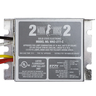 Fulham Workhorse 2 WH2-277-C - 277 Volt - Instant Start - Ballast Factor 0.87 - Power Factor 90% - Min. Temp. Rating -20 Deg. F - Operates (1 or 2) 13 Watt Compact Fluorescent Lamps