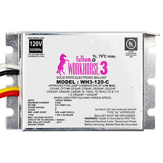 Fulham Workhorse 3 WH3-120-C - 120 Volt - Instant Start - Ballast Factor 0.87 - Power Factor 90% - Min. Temp. Rating -20 Deg. F - Operates (1 or 2) F24T5/HO Fluorescent Lamps