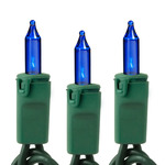 Blue - 120 Volt - 100 Bulbs - Length 46 ft. - Bulb Spacing 5.5 in. - Green Wire - Christmas Mini Light String - GKI Bethlehem 257502