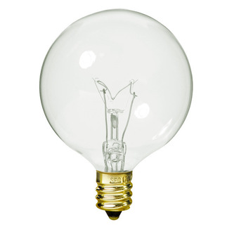 60 Watt - G16.5 - Clear - 2-11/16 in. Dia. - 130 Volt - 3,000 Life Hours - Decorative Globe - Candelabra Base - Halco 4004