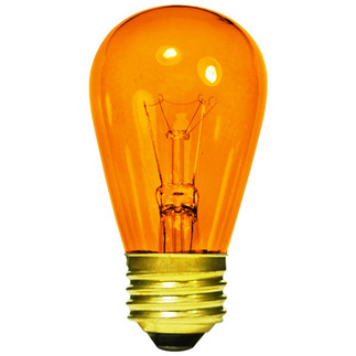 11 Watt - S14 - Transparent Amber - 130 Volt - 3,000 Life Hours - Medium Base - Sign Light Bulb - Halco 9056