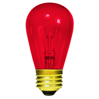 11 Watt - S14 - Transparent Red - 130 Volt - 3,000 Life Hours - Medium Base - Sign Light Bulb - Halco 9052