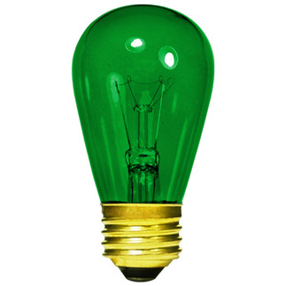11 Watt - S14 - Transparent Green - 130 Volt - 3,000 Life Hours - Medium Base - Sign Light Bulb - Halco 9054