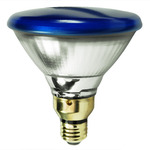 100 Watt - PAR38 - Blue - Reflector Flood - 120 Volt - Medium Skirted Base - Incandescent Light Bulb