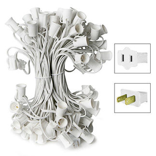 C9 Stringer - 25 Foot - 25 Sockets - 12 in. Spacing - White Wire - Commercial Christmas Lights - HLS C925W C9 Stringer