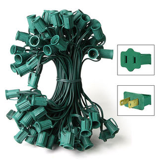 C9 Stringer - 25 Foot - 25 Sockets - 12 in. Spacing - Green Wire - Commercial Christmas Lights - HLS C925G C9 Stringer