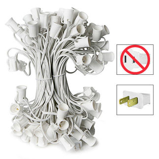 C7 Stringer - 50 Foot - 50 Sockets - 12 in. Spacing - White Wire - Commercial Christmas Lights - HLS C750W C7 Stringer