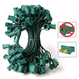 C7 Stringer - 50 Foot - 50 Sockets - 12 in. Spacing - Green Wire - Commercial Christmas Lights - HLS C750G C7 Stringer