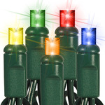 Multi-Color - 120 Volt - 70 LED Bulbs - Wide Angle Lens - Length 23.67 ft. - Bulb Spacing 4 in. - Green Wire - Christmas Mini Light String - HLS 45617