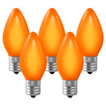 (25 Bulbs) C9 - Opaque Amber-Orange - 7 Watt - Intermediate Base - Christmas Lights - HLS C9OORG