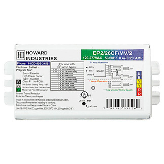 Howard EP2/26CF/MV/K - 120/277 Volt - Programmed Start - Ballast Factor 1.04 - Power Factor 99% - Min. Temp. Rating 0 Deg. F - Operates (1 or 2) 26 Watt Compact Fluorescent Lamps