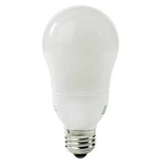 7 Watt - A-Shape CFL - 40 W Equal - 2700K Warm White - Min. Start Temp. 0 Deg. F - 82 CRI  - 15 Month Warranty - Satco S7281 Screw in CFL
