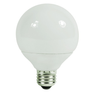 9 Watt - G25 CFL - 40 W Equal - 4100K Cool White - 82 CRI - 55 Lumens per Watt - 15 Month Warranty - Satco S7302 Globe CFL