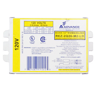 Advance Mark 10 Powerline REZ-2Q26-M2-LDK - 120 Volt - Dimmable - Programmed Start - Ballast Factor 1.0 - Power Factor 98% - Min. Temp. Rating 50 Deg. F - Operates (2) 26 Watt Compact Fluorescent Lamps
