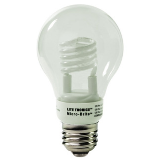 3 Watt - A-Shape CFL - 20 W Equal - 2700K Warm White - Min. Start Temp. 5 Deg. F - 82 CRI - 43 Lumens per Watt - 24 Month Warranty - Litetronics MicroBrite MB-310 screw in cfl